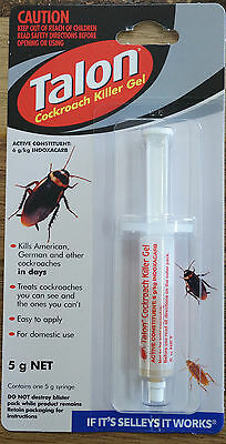 Talon Cockroach Killer Gel Pesticide 5g Syringe Brand New