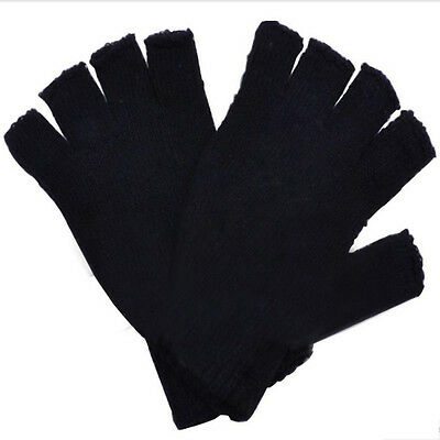 1 Pair Winter Men Black Onesize Knitted Stretch Fingerless Gloves Warmer