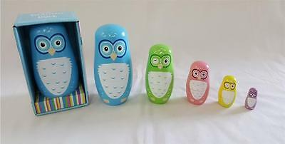 NEW Fun Factory Wooden OWL Nesting Russian Dolls