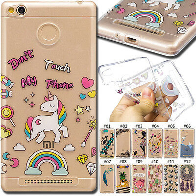 For Xiaomi Redmi 3S/3 Pro/3s Prime Various Cover TPU Back Soft Case Clear Skin