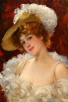 Oil painting Spanish beauty elegance young woman wearing dress hat Hand painted