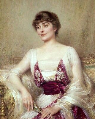 Oil painting Portrait Young nice noble lady seated with fan free shipping cost A