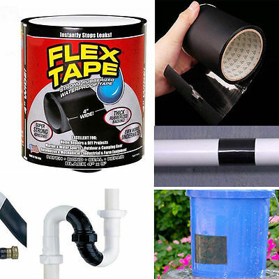 "Flex Tape Black 4"" x 5' Strong Rubberized WaterProof Tape NEW FREE SHIPPING Hot"