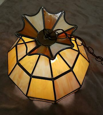 TRUE SLAG GLASS Leaded Stained Glass Chandelier Hanging Light ...