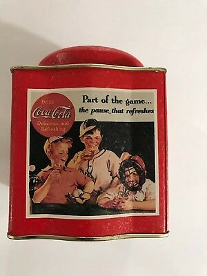 Vintage Looking Coca Cola Coke Picture Tin Can Musical Mechanical Cookie