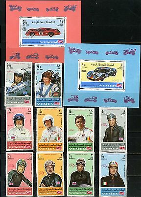 Yemen Kingdom 1969 Cars Racing/sports Set Of 10 Stamps & 2 S/s Perf.mnh