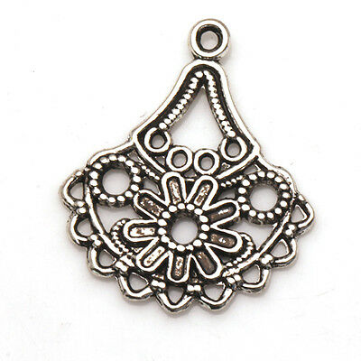Sector Flower Charms Connectors Tibetan Silver Earring Jewelry Finding