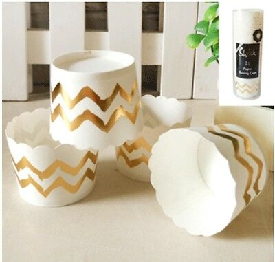 25 x GOLD WHITE CHEVRON SHMICK PAPER BAKING CUPS CUPCAKE CASES CUP PARTY CAKE