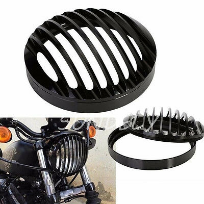 "Black Head Light Grill Cover 5 3/4"" For Harley Davidson Sportster XL 883 1200"