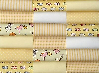 """Fabric patchwork squares 30 X 4"""" 10cm cotton quilting craft baby yellow  5M"""
