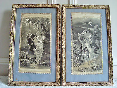 Pair Early French Silkscreens Stevengraph P A Cot The Storm The Spring Framed