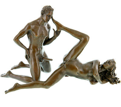 STATUE EN BRONZE 12cm COUPLE AMOUR NU SCENE EROTIQUE SCULPTURE FIGURINE