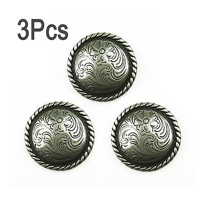 3Pcs Leathercraft  Western Round Rope Edge Silver Conchos Leather Horse Tack