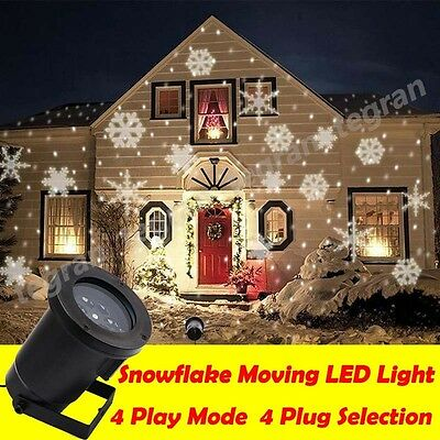 Outdoor Christmas Light SNOWFLAKE Shower Laser LED Motion Projector Party Garden