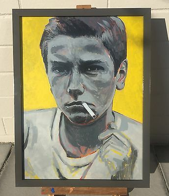ORIGINAL PAINTING River Phoenix FRAMED ART on Board ~ One of a KIND