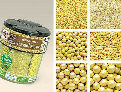 Quality Sprinkles - Gold - Pearlized Surprise - 4Mm, 6Mm, 8Mm Pearls, Sprinkl...
