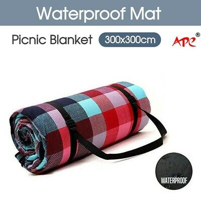 3X3m Extra Large Picnic Blanket Cashmere Rug Waterproof Mat Camping Outdoor