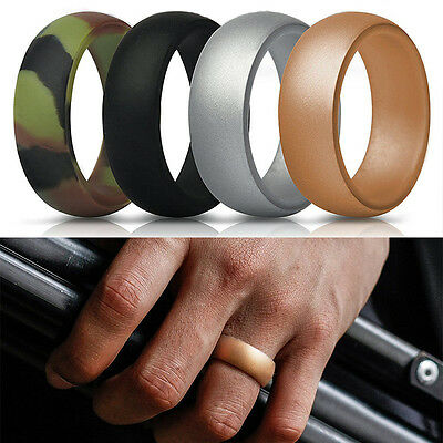 Men Women Silicone Wedding Ring Rubber Band Comfortable Elegant Flexible 7 Pcs
