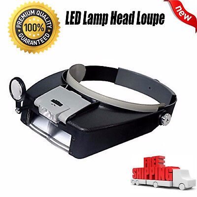 US Jewelers Head Headband Magnifier Magnifying Glasses Light Visor Loupe LED NEW