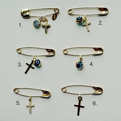 9ct 9kt yellow & white Gold safety baby pin brooches Lucky eye & Cross European
