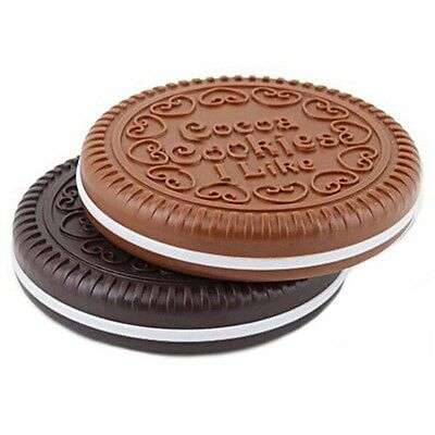 Cookie Mirror 1 Pcs Comb Beauty Biscuits Pocket Compact Chocolate Random Color