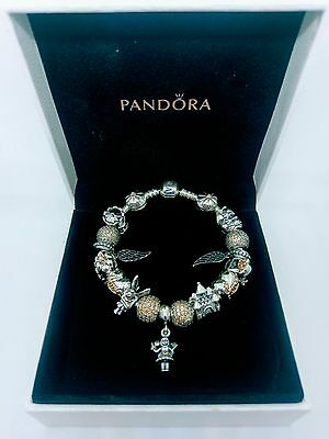 Genuine Pandora Moments Sterling Silver Bracelet including Charms +box (18cm)