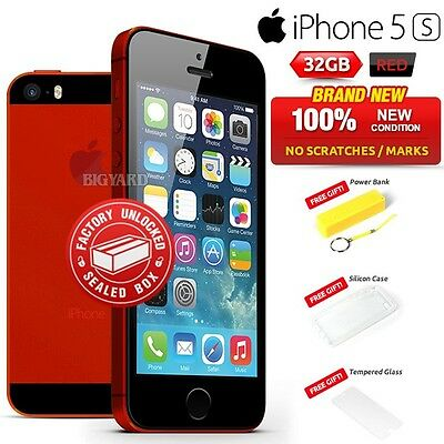 New Sealed Factory Unlocked APPLE iPhone 5s Red 32GB Smartphone 1 Year Warranty