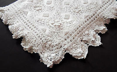 Vintage French Bed Coverlet Hand Crocheted with Raised Pattern and Lacy Border