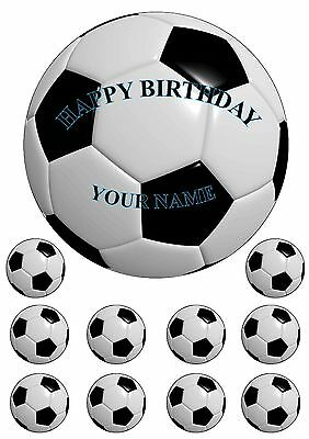 Personalised Soccer Ball 18CM cake topper + 10 cup cake toppers