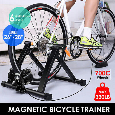 NEW Foldable INDOOR BICYCLE TRAINER ROLLERS Magnetic Stand Cycling Training