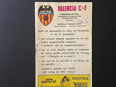 1980–81 Winners' Cup. Valencia CF- FC Carl Zeiss Jena.official programme.2nd leg