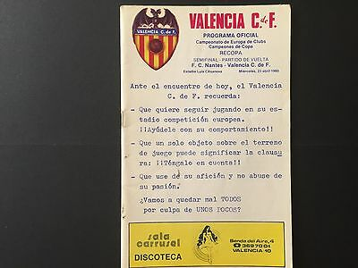 1979–80 Winners' Cup.Semi-final Valencia CF-FC Nantes.official programme.2nd leg