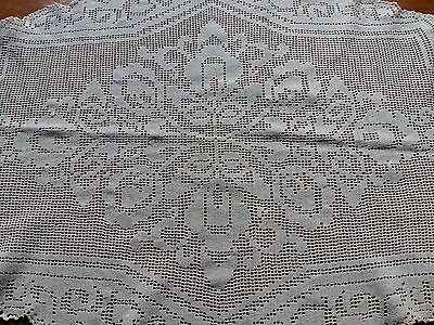 ANTIQUE Vintage Handmade Crochet Lace White Oval Tablecloth Art Deco Cotton100%