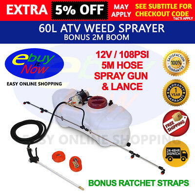 60L 12V ATV Garden Weed Sprayer Pump Spray Tank Boom Spot Wand GIANTZ