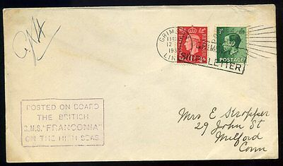 "1937 Maritime Grimsby Ship Letter ""....RMS FRANCONIA on High Seas"""