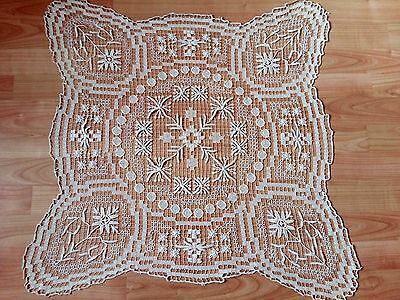ANTIQUE Vintage Handmade FILET NET LACE Square Tablecloth Unique Ecru 25""