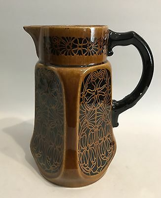 Jugendstil Kakaokanne Design Jug/Pitcher  um 1900 Braun/Schwarz Pottery Pitcher