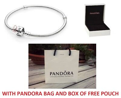 New Genuine Pandora Moments Silver Barrel Clasp Charm Bracelet 590719 16-21Cm