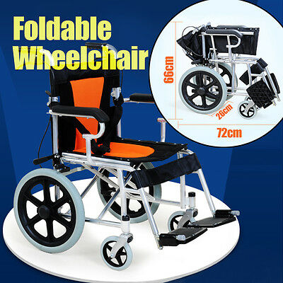 Folding Wheelchair 16 inch solid wheel Manual Mobility Aid Light Weight 4 braker