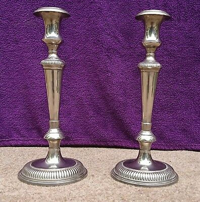 Pair of Antique Silver Plated Solid Cast Brass Candlesticks