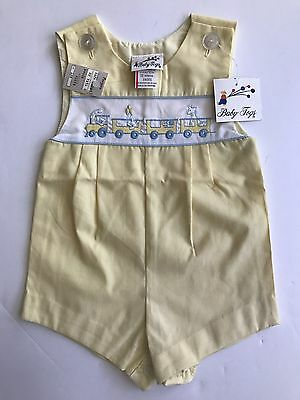 NWT Vtg Baby Togs Romper Not Smocked Yellow Train Boys Size 12 Months 6-12