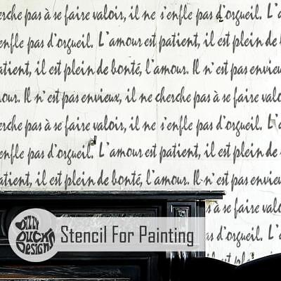 FRENCH SCRIPT Love Stencil - Furniture Wall Floor Stencil for Painting