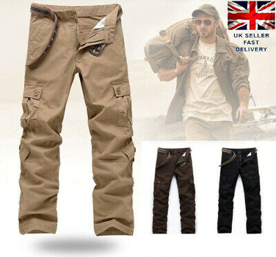 3 Color Casual Mens Military Army Cargo Camo Combat Work Trousers Fitted Pants