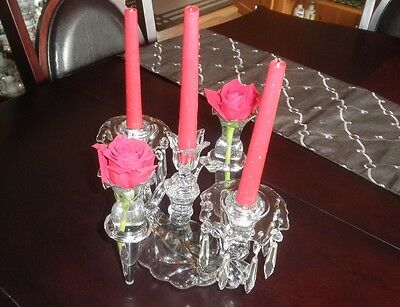 Antique Cambridge Glass Caprice Epergne Candelabra, Candle Holder, Prisms, RARE!