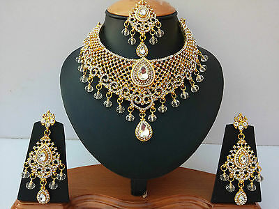 Indian Jewellery Set Clear Stones Gold Plated New - Aq/316