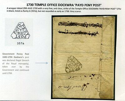 1730 TEMPLE OFFICE DOCKWRA 'PAYD PENY POST' 'Rarity G' Very Fine