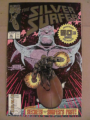 Silver Surfer #50 Marvel 1987 Series Infinity Gauntlet Thanos RARE 2nd Print 9.4