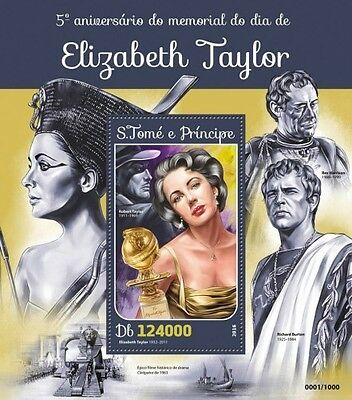 Z08 IMPERFORATED ST16115b Sao Tome and Principe 2016 Elizabeth Taylor MNH