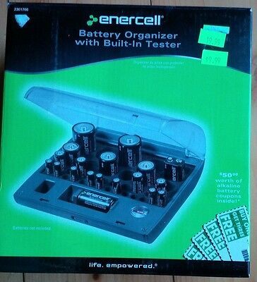 Enercell Battery Organizer with Built-In Tester - 36 Max Capacity, Various Sizes