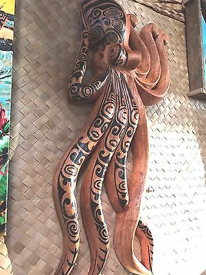 New Lg Wall Hanging Tatooed Octopus Smokin' Tikis Hawaii 113fv